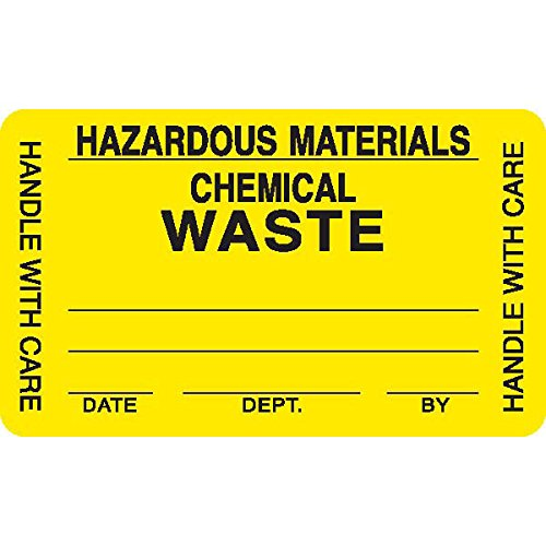 Caution Labels in Blister Packs ''HAZARDOUS MATERIALS CHEMICAL WASTE HANDLE WITH CARE'' Yellow with black text and blank areas to be filled in 2.5''W x 1.5''H by CeilBlue (Image #1)