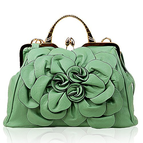 Ruiatoo Women's Handbags 3D Flower Satchel Bags Formal Party Wedding Tote Purses with Detachable Shoulder Strap Grass Green (Grass Purse)