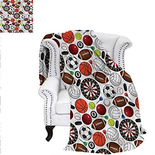 - RenteriaDecor Sports Travel Throw Blanket Billiards Balls Hockey Pucks Digital Printing Blanket 50