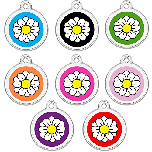 CNATTAGS Stainless Steel Enamel Pet ID Tags Designers Round Daisy