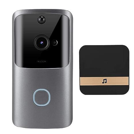 Video Doorbell,720P WiFi videoportero inalambrico IR Visión ...
