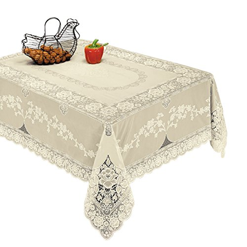 Violet Linen Luxurious Vinyl Lace Embossed Floral Design Tablecloth, 60