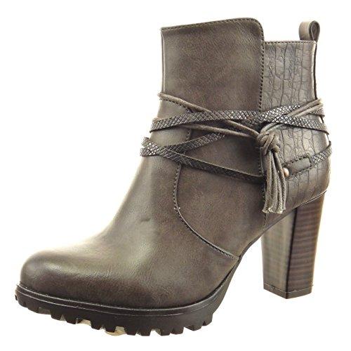 Sopily - Chaussure Mode Bottine Low boots Montante femmes Peau de serpent multi-bride corde Talon haut bloc 8 CM - Gris