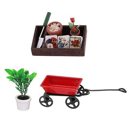 D DOLITY Modelo de Carrito Metálico Planta Verde en Maceta Herramienta de Jardinería Decoraciones para 1