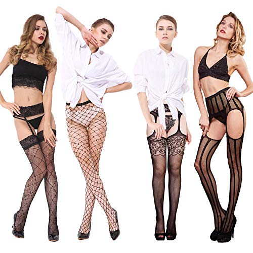 (Fishnet Shockings, X.Store 4 Pairs Women's Fishnet Tights One Size Lace Suspender Pantyhose Stocking in)