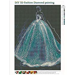 MomentDAY DIY 5D Diamond Painting by Number Kits,Full Drill Round Rhinestone Embroidery Pictures,Arts Craft for Home Wall Decoration(30x40cm) (A)