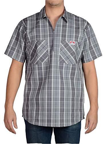 Ben Davis Men's Short Sleeve Plaid Half-Zip Work Shirt (Large, -