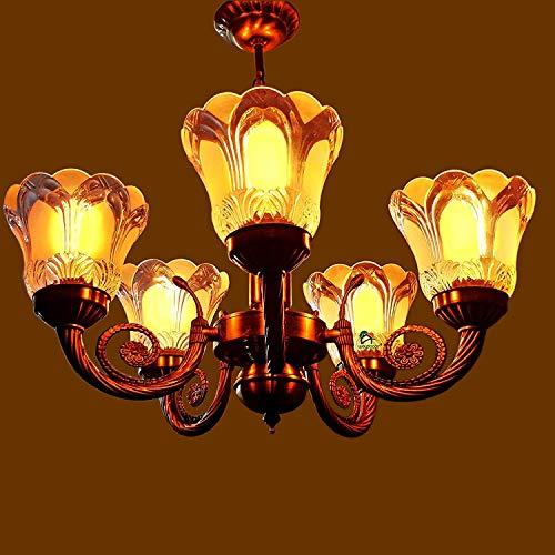 Weldecor Antique 5 Lamp Designer Chandelier Ceiling Light Made of Alloy | Designer Jhoomer for Living Room (Brass)