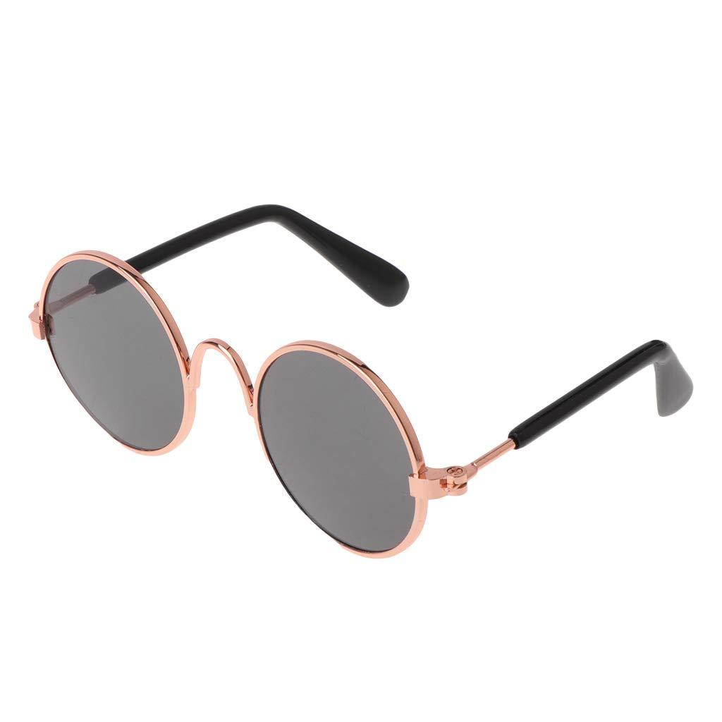 Thobu Pet Glasses Costume Sunglasses Round Funny Fashion Props Dog Cat Supply Products Gold Black Lens