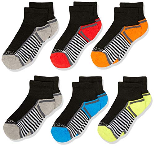 Sports Posted Heel - Fruit of the Loom Boys' 6-Pair Half Cushion Ankle Socks, black assort, Large (Shoe Size: 3-9)