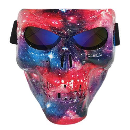 Vhccirt Airsoft/Paintball/Motorcross Protective Mask Scary Skull/Zombie Face Mask Halloween Grim Reaper Cosplay Starry Stardust Blue Lenses (Scary Paint Face For Halloween)