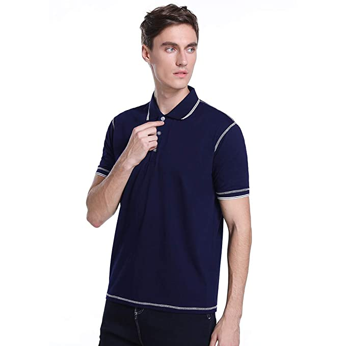 b4135dd390ce3 Polo Camiseta 100% Algodón Slim Poloshirt con Manga Corta Botones Cuello  Polos Camisa Clásico Verano