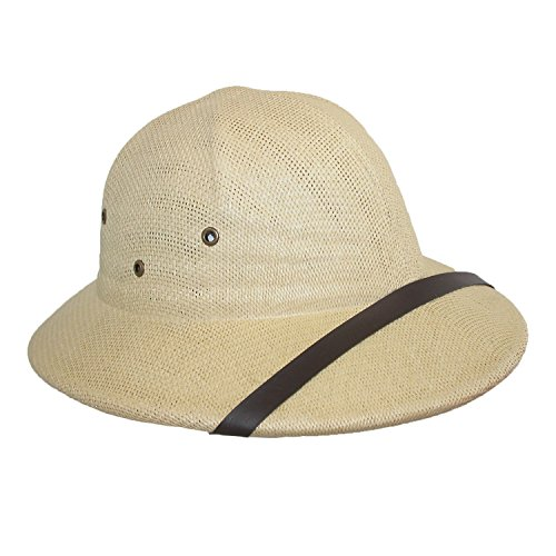 [CTM Twisted Toyo Straw Pith Safari Helmet Hat, Natural] (Straw Safari Hat)