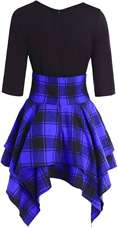LINSINCH Fashion Women Casual O-Neck Lace Up Tartan Plaid Print Asymmetrical Mini Dress Women V-Neck A-Line Fit Flare Swing Party Skirt