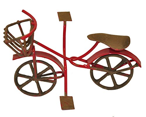 G & F MiniGardenn 10022 Fairy Garden Miniature Mini Bicycle, Red (Garden Bicycle Sculpture)