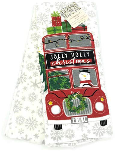 Cynthia Rowley Jolly Holly Christmas Snowman Holiday Kitchen Towel Set