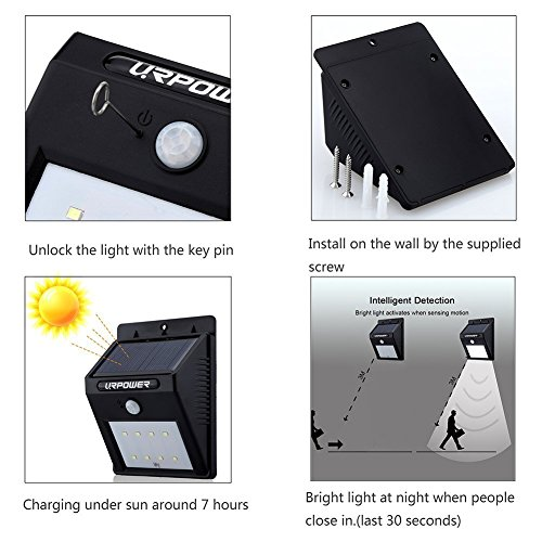 URPOWER Solar Lights 8 LED Wireless Waterproof Motion Sensor Outdoor Light for Patio, Deck, Yard, Garden with Motion Activated Auto On/Off (4-Pack) by URPOWER (Image #1)