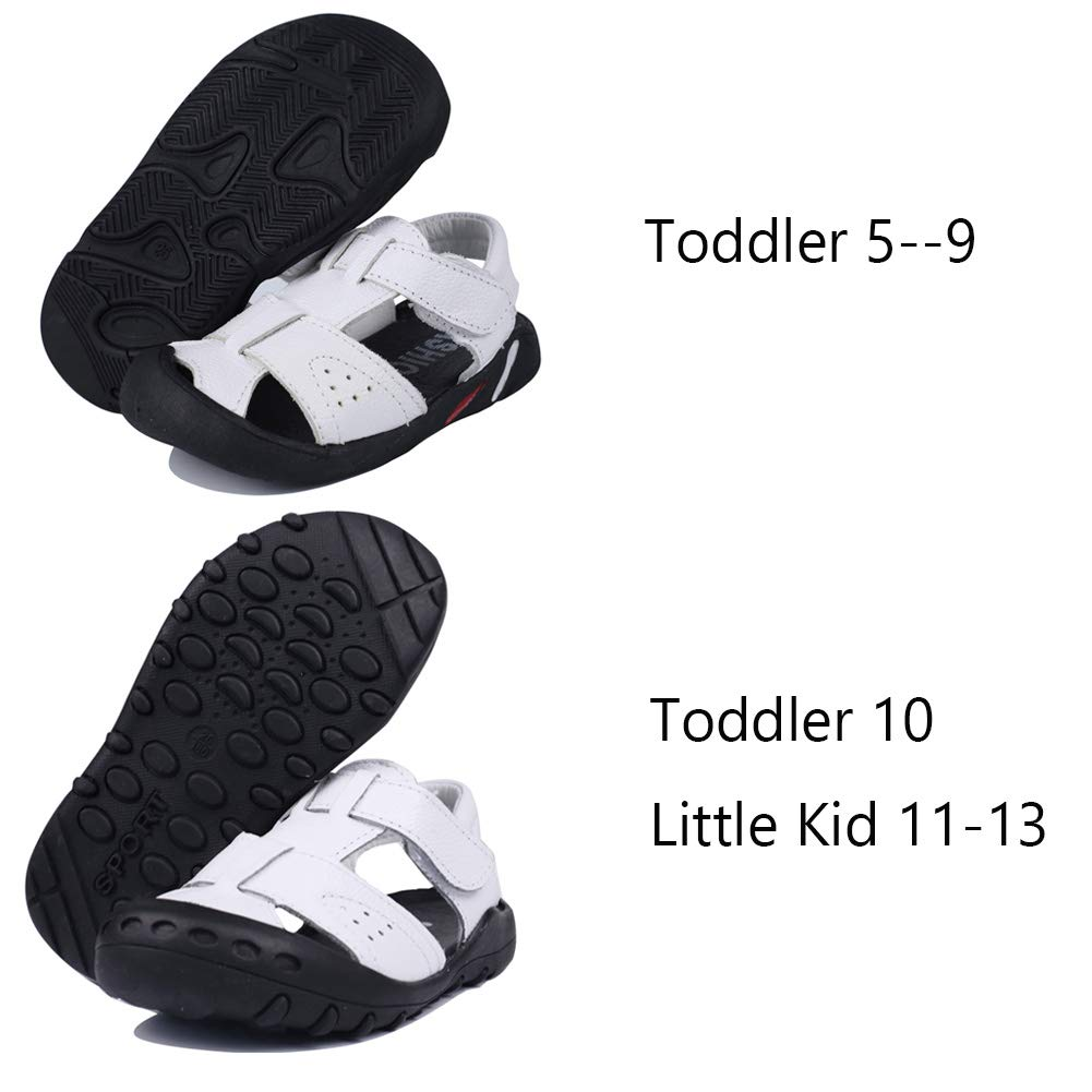 MuyGuay Toddler Boys Sandals Closed Toe Sandals for Kids Baby Boys Genuine Leather Summer Shoes with Non-Slip Rubber Sole