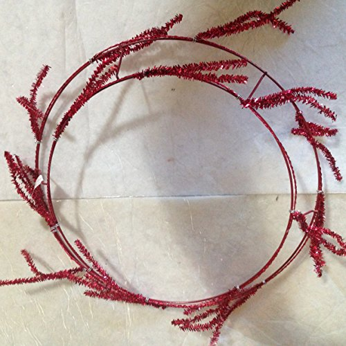 """16"""" Red glitter 3-D Wire Wreath frame with 28 5"""" Red glitter stem Twist Tie ons"""