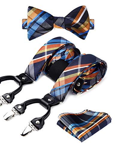 HISDERN Check Stripe 6 Clips Suspenders & Bow Tie and Pocket Square Set Y Shape Adjustable Braces