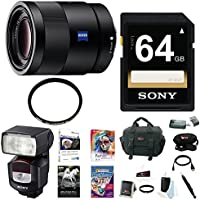 Sony 55mm F1.8 Sonnar T FE ZA Lens, HVLF43M Digital Camera Flash Bundle