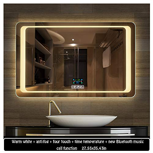 7090cm Illuminated LED Backlit Bathroom Mirror Light Sensor Touch Control with Demister - Bathroom Backlit Socket Shaver With Mirrors