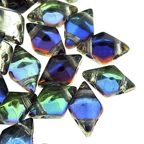 Czech Glass DiamonDuo, 2-Hole Diamond Shaped Beads 5x8mm, 10 Grams, Prismatic Peacock