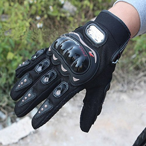 Pro-Biker Bicycle Short Sports Leather Motorcycle Powersports Racing Gloves (Black, L) by Sunflower (Image #7)