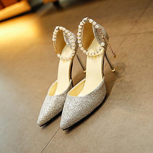 Tessuto Tacchi Stiletto Alto Scarpe Sexy Shoes Tacco Tacchi Spillo A Sposa Crystal Damigella Da Donna 10 A S Superficiale Sandali Bocca Cm D'onore Alti Sposa Scarpe Da Scarpe zzrwSqE