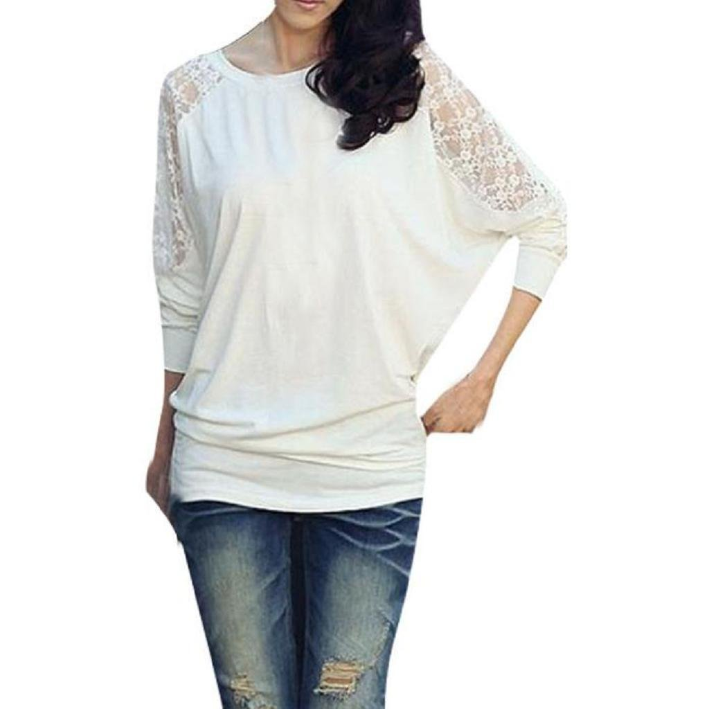 YANG-YI Womens Long Sleeve Blouse Dolman Lace Loose T-Shirt Batwing Tops