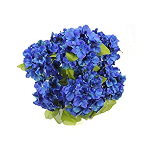 JenlyFavors 22 Inch X-Large Satin Artificial Hydrangea Silk Flower Bush 7 Heads Royal Blue 3
