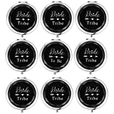 SFHMTL Set of 9 Compact Pocket Makeup Mirrors Include 1 Bride to Be Mirror and 8 Bride Tribe Mirrors Bachelorette Party Bridesmaid Proposal Gifts (Black)