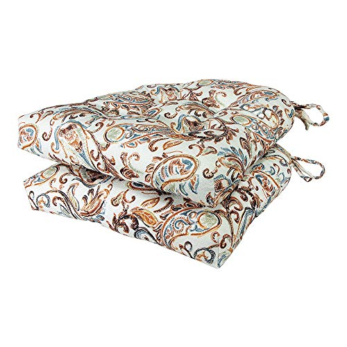 Arlee - Paisley Pad Seat Cushion, Memory Foam, Full-Length Ties for Non-Slip Support, Durable, Superior Comfort & Softness, Reduces Pressure, Washable, 16