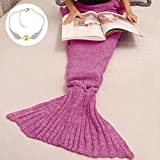 Cofunia Soft Crochet Mermaid Tail Blanket for Kids All Season Sleeping Bag Blanket (55