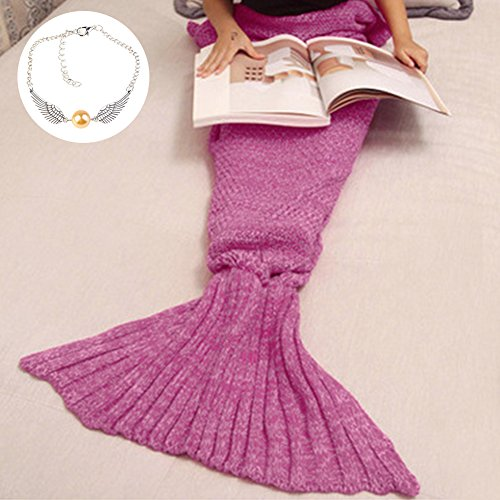 Lowest Prices! Cofunia Soft Crochet Mermaid Tail Blanket for Kids All Season Sleeping Bag Blanket (5...