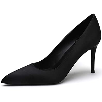 f4477dce37bd8 EKS Women's Black Satin Slip-on Pointed Toe Middle Heeled Dress Fashion  Pumps Black 5.5