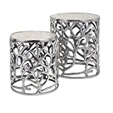 IMAX 60150-2 Daltry Coastal Tables - Set Of 2, Silver, 16.5x16.5x19.5