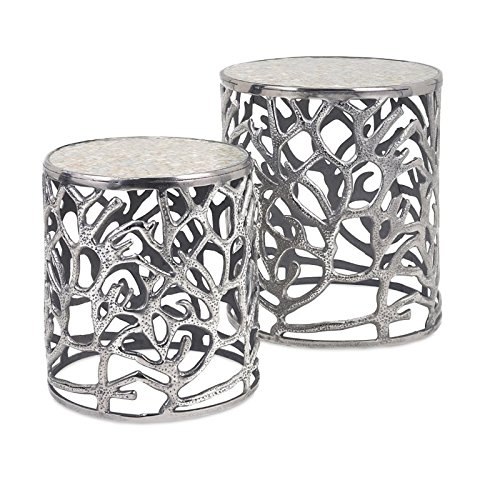 IMAX 60150-2 Daltry Coastal Tables - Set Of 2, Silver, 16.5x16.5x19.5 by Imax