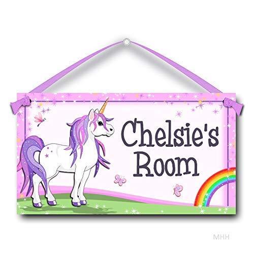 Kids Door Sign Personalized Unicorn with Rainbow, Room Plaque