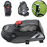 DINGYU Outdoor Riding Bike Seat Bag Waterproof Roomy Strap-on Bicycle Saddle Pack with Tail Light Extra Net Pouch for Water bottle and Reflective Stripes for Outdoor Cycling Riding