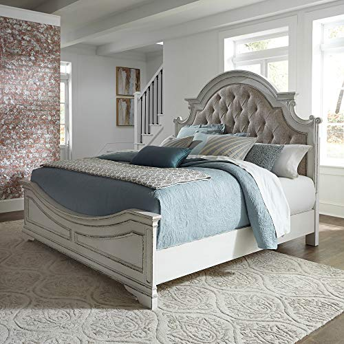 Liberty Furniture Industries Magnolia Manor King Upholstered Bed, White (Antique Bedroom White Furniture)