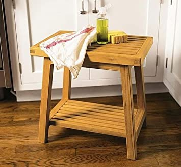 Amazon.com: New Grade A Teak Bath Stool Or Side Table Or Shower ...