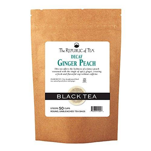 The Republic of Tea Decaf Ginger Peach Black Tea, 50 Tea Bags, Longevity Blend Of Ginger And Peach Tea