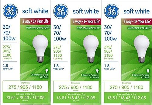 GE Lighting Soft White 3-way 30/70/100-Watt, 1180-Lumen A21 Light Bulb with Medium (70w Medium Base)