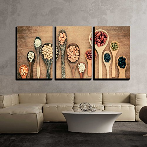 wall26 - 3 Piece Canvas Wall Art - Assortment of Beans and Lentils in Wooden Spoon on Teak Wood Background - Modern Home Decor Stretched and Framed Ready to Hang - 24