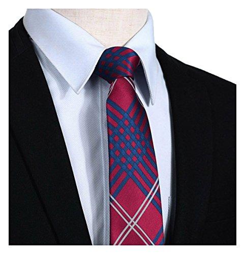 - HISDERN Plaid Tie Handkerchief Woven Classic Stripe Men's Necktie & Pocket Square Set Red