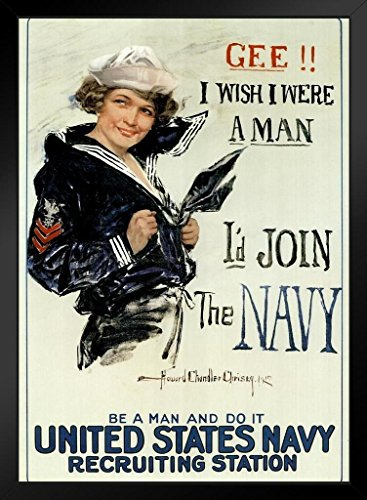 Gee I Wish I were A Man Id Join The Navy Recruiting Propaganda Framed Poster 14x20 ()