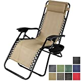 Sunnydaze Khaki Zero Gravity Lounge Chair with Pillow and Cup Holder