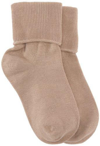 Jefferies Socks Little Girls'  School Uniform Organic Cotton Seamless Turn Cuff  (Pack of 6),  Khaki, Sock size 8-9.5(Shoe size:12-6)