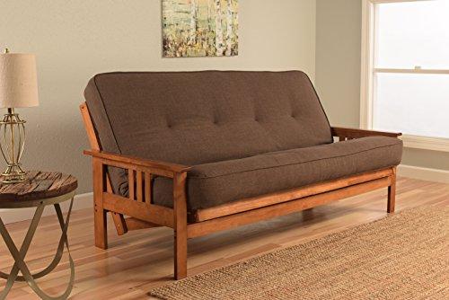 - Kodiak Furniture KFMOBBLCOCLF5MD3 Monterey Futon Set with Barbados Finish Full Linen Cocoa